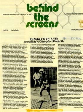 Article on Charlotte Lee in Behind The Screens