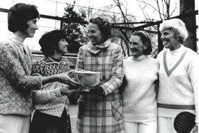 Ethel Kennedy (center) presenting the tournamnet trophy in Chevy Case, MD, to B. J. DeBree, Gloria Dillenbeck (on left) Peggy Stanton and Charlotte Lee (on right)