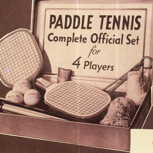 A late-1920s boxed set of paddle tennis equipment, similar to the one James Cogswell brought home