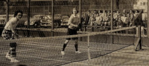 Ruth Walker (left) and Barbara Koegel in the finals of the 1959 Women's Nationals. They were defeated by Madge Beck and Susan Beck Wasch. Action is on court 1 at FMTC.