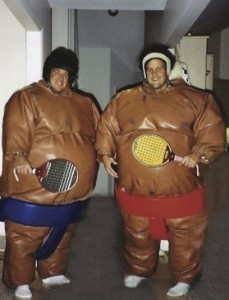 Fritz Odenbach (right) and Martin Sturgess at a platform tennis costume party in Rochester, NY. Fritz made Rochester party-central