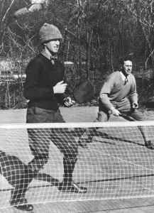 Blanchard (right) and Earle Gatchell on the first court built on Cogswell's property in Scarsdale NY (1930)