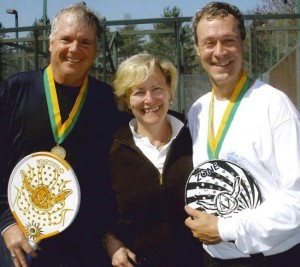 Men's 50+ Champions. Scott  Bondurant (left) and Tim McAvoy (right).  APTA Executive Director, Ann Sheedy in middle.