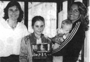 Winners of the 1982 Women's Nationals, Yvonne Hackenberg and Hilary Hi lton Marold, introduce up- and-coming stars, Christi Hackenberg and Chad Marold.