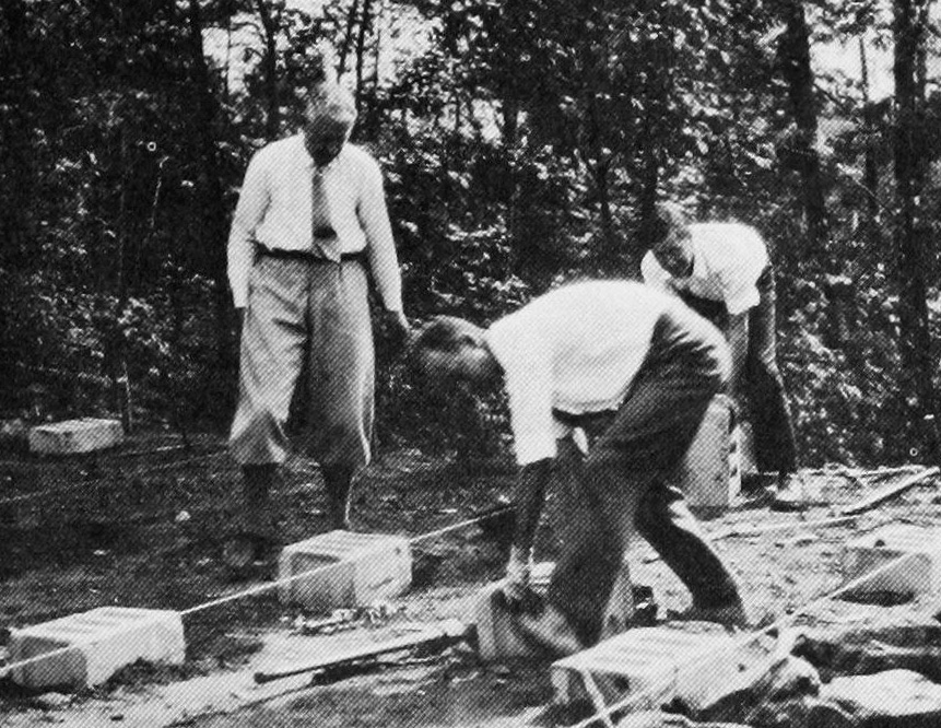 Laying foundations for the second Cogswell court (Oct 1932) on same location as first court. Alger Sawyer, Lindsay Welling and Earle Gatchell
