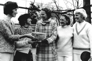 Ethel Kennedy (center) presents the trophy at a tournament in Chevy Chase, Maryland, to (from left) B. J. Debree, Gloria Dillenbeck, Peggy Stanton, and Charlotte Lee.