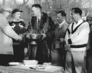 The awards presentation at the 1956 Men's Nationals (from left): Bill Pardoe, George Harrison, Ted Cook (APTA president and tournament chair), Don McNeill, and Herman Schaefer
