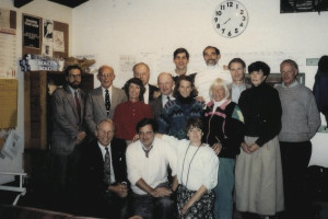 A 1993–94 APTA Board of Directors meeting at the Montclair Golf Club Paddle Hut. Standing back row: Reb Speare, Bob Brown, Chuck Vasoll, Peter Dodd, Walt Peckinpaugh, Pete McCormick, Carol York, and Bill Childs. Standing second row: Hope Kerr, Charley Stevens, Claudia Neal, and Nancy Mangan. Kneeling: Howard Sipe, Brian Zevnik, and Ginna Ohlmuller.
