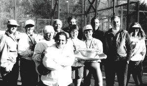 The 1994 Women's Nationals (from left): Connie Jones and Cindy Prendergast (finalists), Nancy Mangan, Bob Brown, Brian Zevnik, Jo Rogers, Gerri Viant and Sue Aery (winners), John Miller, Roger Lankenau, and Sally Rogers