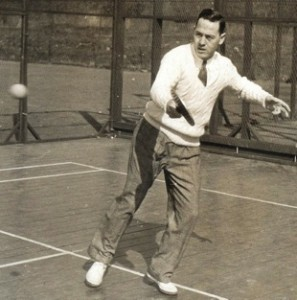 Publicity photograph of O'Hearn playing singles in t1937 when he won both the Men's Single and Doubles titles.