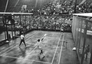 Doug Russell (left, far side) and Gordon Gray defeat Steve Baird and Chip Baird (right, near side) in five sets at the West Side Tennis Club in Forest Hills, Queens