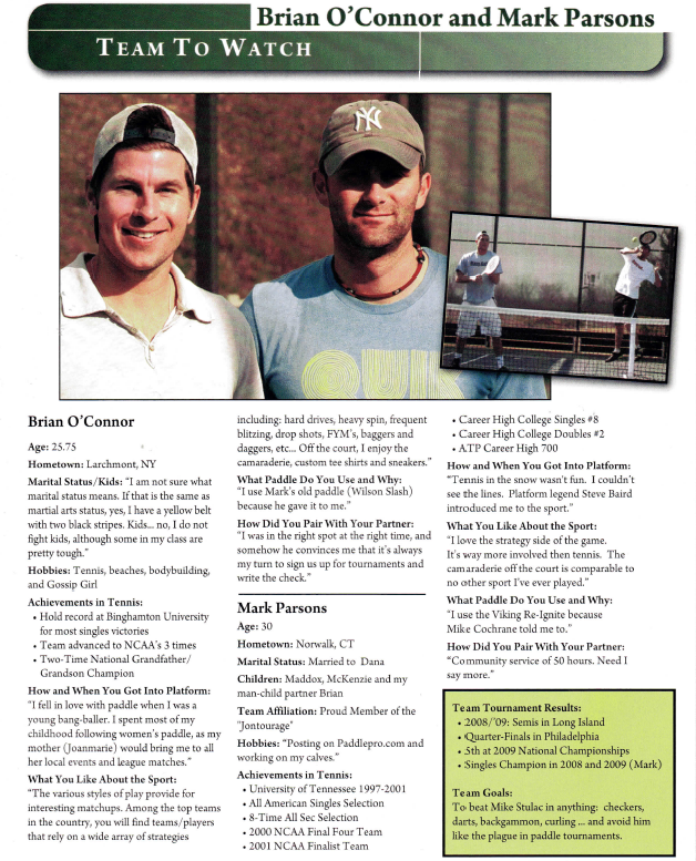 A team to watch: Brian O'Connor and Mark Parsons   Platform Tennis